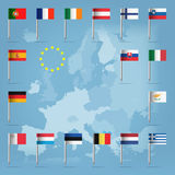 17 european union countries over european map Royalty Free Stock Image