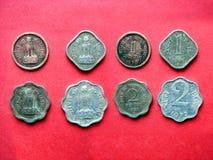 17 indiska mynt Arkivbild