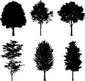 17 isolerade silhouettestrees Royaltyfri Fotografi