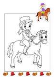 17 książkowych kolorystyki horsewoman prac Zdjęcia Stock