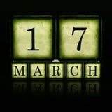 17 maart op 3d houten kubussen Royalty-vrije Stock Afbeeldingen