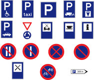 17 road signs. Set of 17 road signs on white background Royalty Free Stock Images