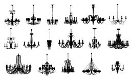 17 verschillende vormen van kroonluchter royalty-vrije illustratie