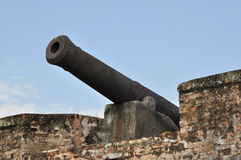 1700s British Cannon. Old rusty cannon made by the British in the 1700s Royalty Free Stock Image