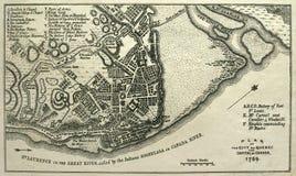 1759年城市映射魁北克抓住 免版税库存图片