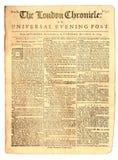 1759年报纸葡萄酒 库存照片
