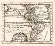 1765 De Val Map of North and South America. A 1765 Map of the Americas showing California as an Island Stock Images