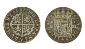1770 Spaans echt muntstuk 2 Stock Afbeelding