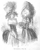 1788 Woman's fashion illustration. A photograph of an illustration from 1867 of the woman's fashions from the years 1787 and 1788 Royalty Free Stock Photo