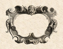 17th Century Baroque Cartouche. Antique Cartouche taken from a 17th century print with Angel and Decorative frame Stock Photo