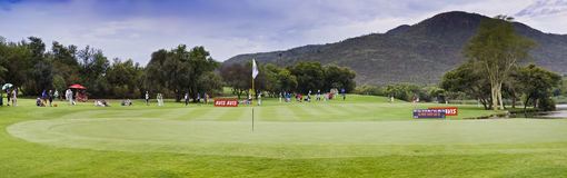 17th Green - Gary Player Golf Course - Pano. Panoramic stich of the 17th green, and fairway approach, of the Gary Player Golf Course Royalty Free Stock Images