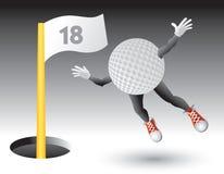 18ème trou de golf de vol de caractère de bille Image stock