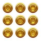 18个按钮金图标设置了万维网 免版税库存照片