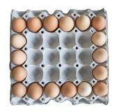 18个纸盒鸡蛋 免版税图库摄影