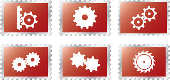 18个齿轮设置了stamps2 库存图片