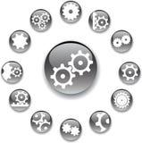 18 установленных шестерен кнопок Стоковое фото RF