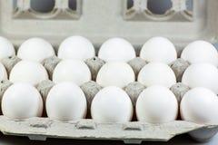 18 яичек в их клети картона ждать быть использованным кашеваром стоковые фото