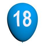 Воздушный шар 18 представляет восемнадцатое с днем рождения Стоковые Фотографии RF