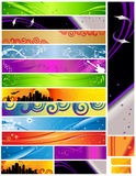 18 Banners multi themes and colors 468x60. 120x600 88x31. Colorful decorative designs include city, curves, foliage, guitar, music and more stock illustration