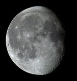 18-day moon. An 18-day-old Moon in its gibbous phase in true color royalty free stock photo