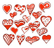 18 hearts. 18 floral hearts isolated on white background stock illustration