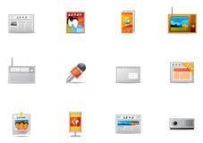18 ikon środków masowych przekazów pixio set Obrazy Royalty Free