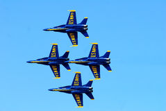18 Inches apart. US Navy Blue Angels perform a fly by that has the just 18 inches apart from each other as the make a pass in front of a crowd at the 2011 Stock Photos