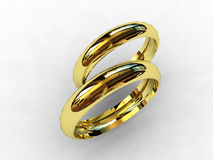 18 karat gold wedding bands. 3D Royalty Free Stock Images