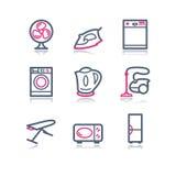 18 koloru konturowa ikon sieć Zdjęcia Royalty Free