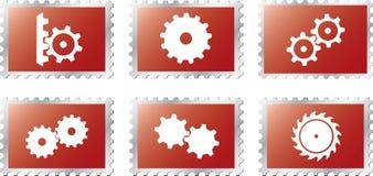 18 kugghjul ställde in stamps2 Fotografering för Bildbyråer