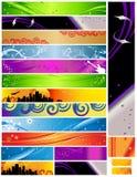 18 temas y colores multi 468x60 de las banderas Imágenes de archivo libres de regalías