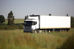18 wheeler. Traveling in the countryside Royalty Free Stock Image