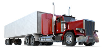 18 wheeler. An 18 wheeler Semi-Truck on white Stock Images