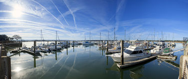 180 degree pano of marina. 180 degree panorama of marina in beaufort, South Carolina Stock Images