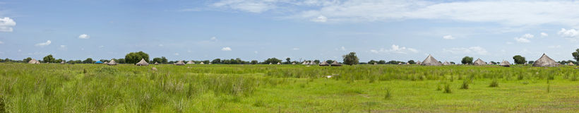 180 degree panorama of south sudan. 180 degree of village of Liliir in South Sudan Royalty Free Stock Images
