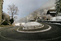 180 Degrees. Steep curve of a mountain road near the castle of lichtenstein, europe Stock Images