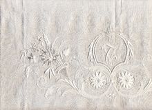 1800's delicate old lace. An old lace hand made in the middle 1800. I'ts very delicate and higly detailed. The stitches are extremely tiny: the whole fabric here Stock Photos