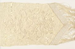 1800's silk embroidery. A silk scarf embroidered in the middle of 1800 with fringe Royalty Free Stock Images
