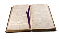 1812 antique Bible open at Isaiah Stock Photography