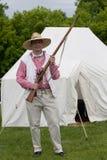 1812 de Mens van de Militie van het weer invoeren met Flintlock Royalty-vrije Stock Foto