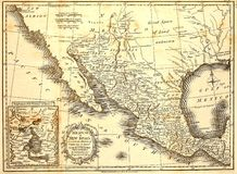 1821 Map of Mexico. This vintage map was printed in London in 1821 and includes adjacent areas of America royalty free stock photography
