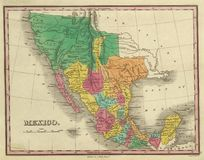1831 antique map of Texas. California and Mexico Out of copyright vector illustration