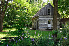 1834 two story log house. In Delphi, Indiana stock photography