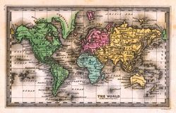 1835 Antique World Map Stock Images