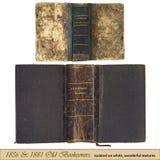 1836 et 1881 vieux bookcovers Photos libres de droits