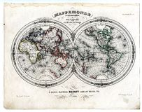 1846 hemisfer mapy świata Zdjęcia Royalty Free