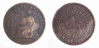 1857 knappa tecken för australiensisk myntkopparencentmynt Arkivbild