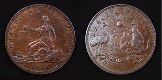 1858 australiensiska encentmynttecken Fotografering för Bildbyråer