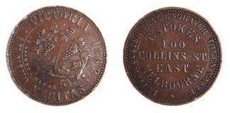 1862 knappa tecken för australiensisk myntkopparencentmynt Royaltyfri Foto
