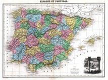 1870古色古香的映射葡萄牙西班牙 免版税库存照片